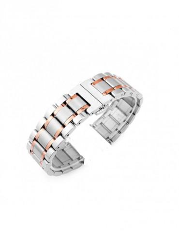 Mεταλλικό Stainless steel λουράκι με διπλό butterfly buckle κλείσιμο Για Το Xiaomi Mi Watch -Silver- Rose Gold