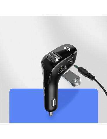 BASEUS transmiter FM Bluetooth MP3 AUX TF Streamer F40 + car charger 2x USB 2A 15W Black CCF40-01