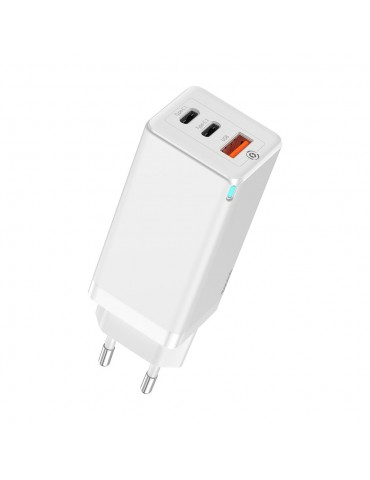 Baseus GaN fast wall charger PPS 65W USB / 2x USB Typ C Quick Charge 3.0 Power Delivery SCP FCP AFC (gallium nitride) white (CCGAN-B02)