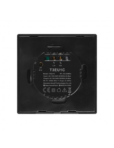 Sonoff T3EU1C-TX | Ασύρματος διακόπτης ενός πλήκτρου με λειτουργία WiFi και RF - Black