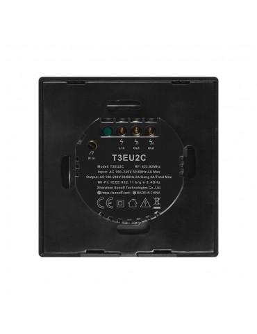 Sonoff T3EU2C-TX  | Ασύρματος διακόπτης δύο πλήκτρων με λειτουργία WiFi και RF - Black