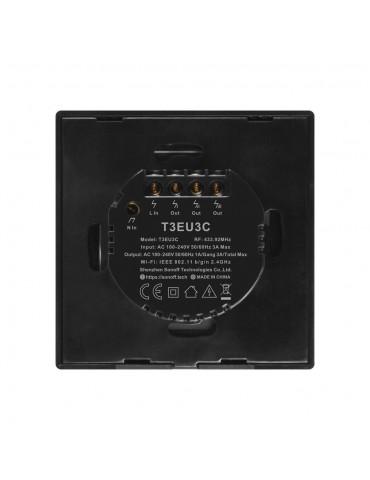 Sonoff T3EU3C-TX | Ασύρματος διακόπτης τριών πλήκτρων με λειτουργία WiFi και RF - Black