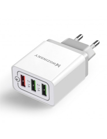 Wozinsky fast wall charger adapter Quick Charge QC 3.0 3x USB 30W white (WWC-01)