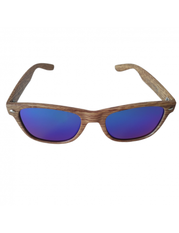 Γυαλιά ηλίου με μπλε -πράσινο καθρέφτη φακό και σκούρο καφέ σκελετό