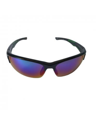 Γυαλιά ηλίου με μπλε -πράσινο καθρέφτη φακό και μαύρο σκελετό