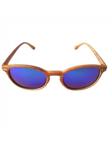 Γυαλιά ηλίου με μπλε -πράσινο καθρέφτη φακό και ανοιχτό καφέ σκελετό