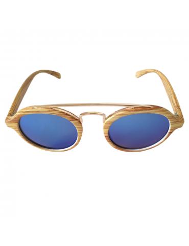 Γυαλιά ηλίου με μπλε καθρέφτη φακό και ανοιχτό καφέ σκελετό