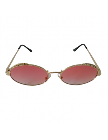 Γυαλιά ηλίου με ροζ διάφανο φακό και χρυσό σκελετό