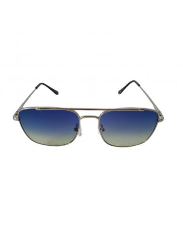 Γυαλιά ηλίου με μπλε ντεγκραντέ φακό και ασημί σκελετό