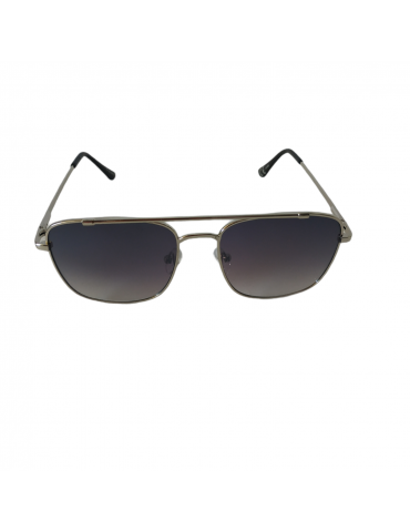 Γυαλιά ηλίου με γκρι ντεγκραντέ φακό και ασημί σκελετό