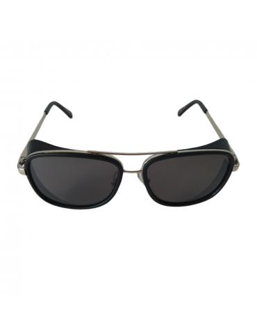 Γυαλιά ηλίου με γκρι φακό και μαύρο με ασημί σκελετό