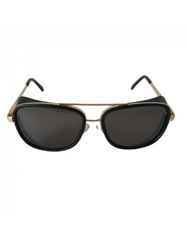Γυαλιά ηλίου με γκρι φακό και μαύρο με χρυσό σκελετό