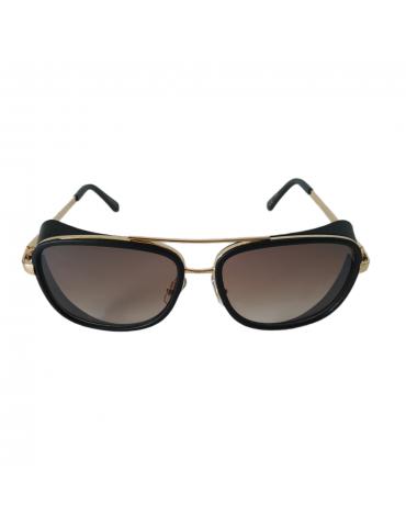 Γυαλιά ηλίου με καφέ ντεγκραντέ φακό και μαύρο με χρυσό σκελετό