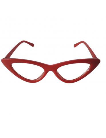 Γυαλιά ηλίου με διάφανο φακό και κόκκινο σκελετό