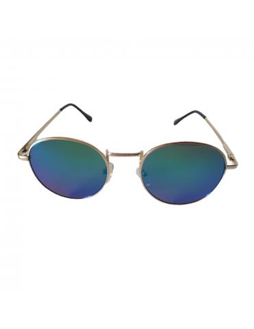 Γυαλιά ηλίου με μπλε-πράσινο καθρέφτη φακό και χρυσό σκελετό
