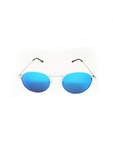 Γυαλιά ηλίου με μπλε καθρέφτη φακό και ασημί σκελετό