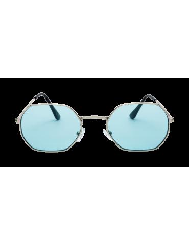 Γυαλιά ηλίου με πράσινο διάφανο φακό και ασημί σκελετό