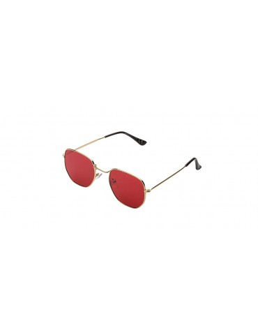 Γυαλιά ηλίου με κόκκινο διάφανο φακό και χρυσό σκελετό