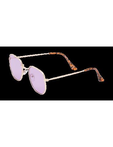 Γυαλιά ηλίου με μοβ διάφανο φακό και χρυσό σκελετό
