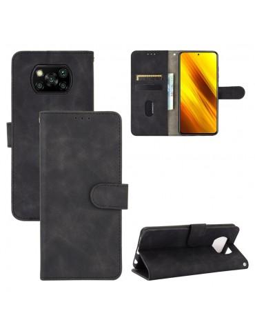 Δερμάτινη θήκη- πορτοφόλι με μαγνητικό κλείσιμο για το Xiaomi POCO X3 NFC- Black