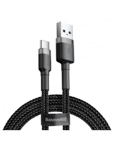 Baseus Cafule Cable Durable Nylon Braided Wire USB / USB-C QC3.0 2A 3M Μαύρο - Γκρι (CATKLF-UG1)