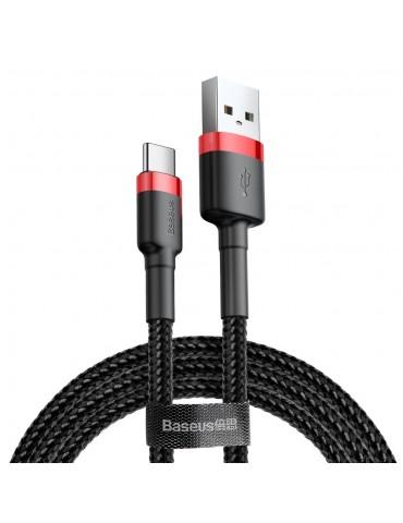 Baseus Cafule Cable Durable Nylon Braided Wire USB / USB-C QC3.0 2A 3M Μαύρο - Κόκκινο (CATKLF-U91)