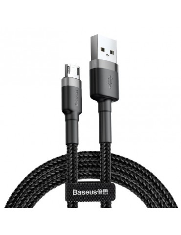 Baseus Cafule Καλώδιο Durable Nylon Braided Wire USB / micro USB QC3.0 2.4A 1M black-grey (CAMKLF-BG1)