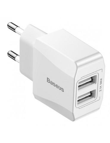 Baseus Φορτιστής Mini Dual-U 2xUSB 2.1A Λευκό (CCALL-MN02)