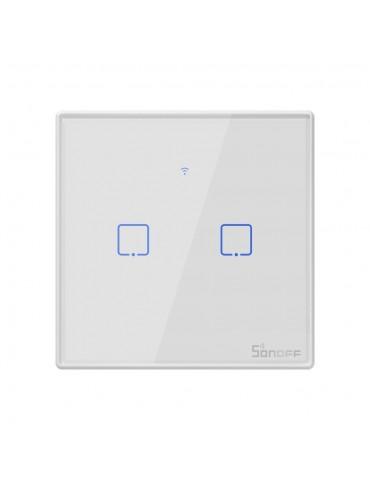 Sonoff Έξυπνος Διπλός Διακόπτης T2 TX 2-Gang WiFi RF Wall Touch Switch EU  - White