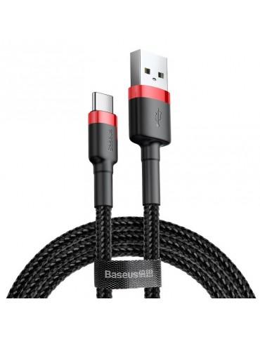 Καλώδιο Baseus Cafule Braided USB / Type C QC3.0 3A 1m - Baseus - Μαύρο / Κόκκινο - Type C (CATKLF-B91)