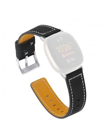 Δερμάτινο λουράκι μαύρο με λευκές διακοσμητικές ραφές για το Fitbit Versa 3 / Fitbit Sense -ΜΑΥΡΟ