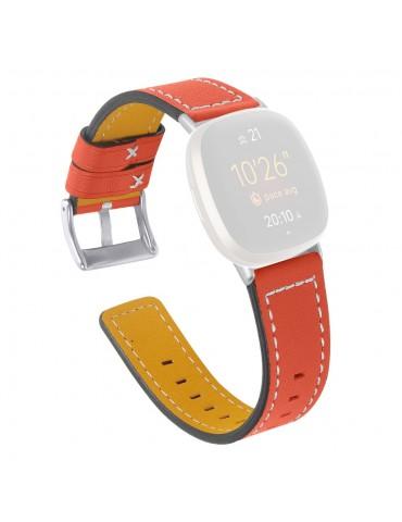 Δερμάτινο λουράκι πορτοκαλί με λευκές διακοσμητικές ραφές για το Fitbit Versa 3 / Fitbit Sense-ΠΟΡΤΟΚΑΛΙ