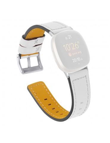 Δερμάτινο λουράκι λευκό με λευκές διακοσμητικές ραφές για το Fitbit Versa 3 / Fitbit Sense -ΛΕΥΚΟ