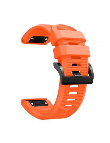 Ανταλλακτικό Λουράκι Σιλικόνης με οριζόντιες γραμμές για Garmin Fenix 3/5x/3HR/5X Plus/6x/6x Pro - Orange