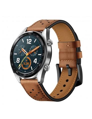 Δερμάτινο λουράκι με τρύπες για το Huawei Watch GT/GT 2 (46mm)/GT Active/Honor Magic/Watch 2 - Brown