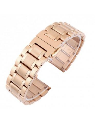 Mεταλλικό Stainless steel λουράκι με διπλό butterfly buckle κλείσιμο για το Huawei Watch GT/GT 2 (46mm)/ GT 2e /GT Active/Honor Magic/Watch 2 Classic -Rose Gold
