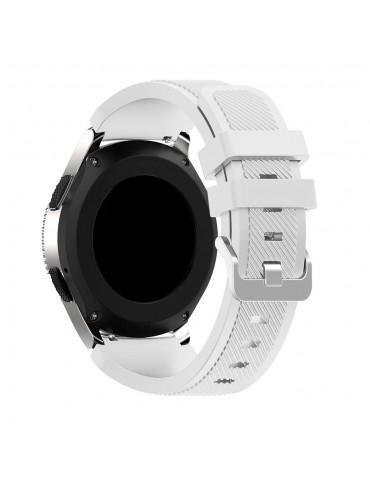 Λουράκι σιλικόνης Twill Texture για το Huawei GT/GT 2 (46mm)/ GT 2e /GT Active/Honor Magic/Watch 2 Classic  άσπρο OEM