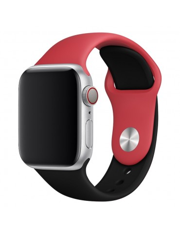 Λουράκι Σιλικόνης Κόκκινο- Μαύρο (Apple Watch 42/44mm) OEM