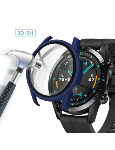 Σκληρή θήκη προστασίας από πλαστικό με ενσωματωμένο tempered glass για Huawei Watch GT 2 46mm - Dark Blue