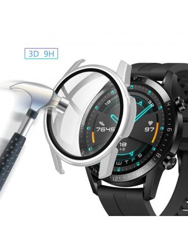 Σκληρή θήκη προστασίας από πλαστικό με ενσωματωμένο tempered glass για Huawei Watch GT 2 46mm - Silver