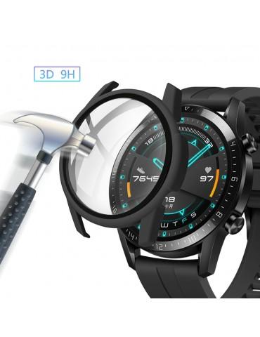 Σκληρή θήκη προστασίας από πλαστικό με ενσωματωμένο tempered glass για Huawei Watch GT 2 46mm -Black