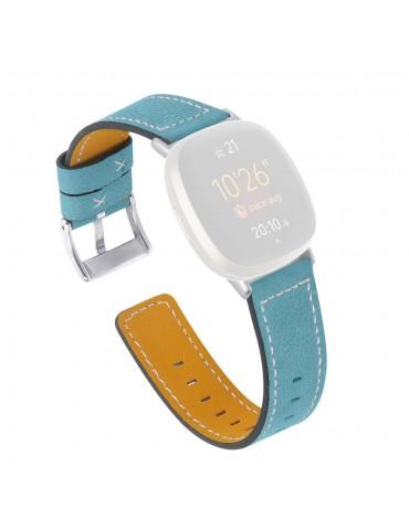 Δερμάτινο λουράκι light blue με λευκές διακοσμητικές ραφές για το Fitbit Versa 3 / Fitbit Sense- Light Blue