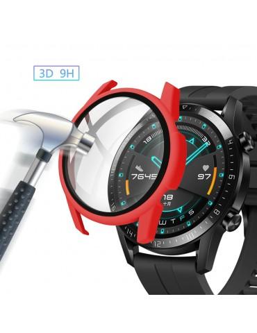 Σκληρή θήκη προστασίας από πλαστικό με ενσωματωμένο tempered glass για Huawei Watch GT 2 46mm - Red
