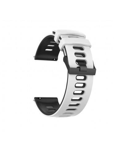 Dual- Color λουράκι σιλικόνης για το Huawei Watch GT/GT 2 (46mm)/ GT 2e /GT Active/Honor Magic/Watch 2 Classic- White/Black