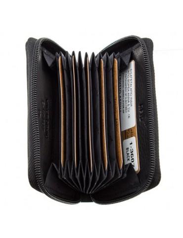 Πορτοφόλι καρτοθήκη LAVOR 1-3607 δερμάτινη - Μαύρο