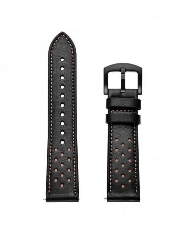 Δερμάτινο μαύρο λουράκι (περιλαμβάνει τα μεταλλικά κουμπώματα) για το Amazfit GTR 2e 46mm/ GTR 46mm