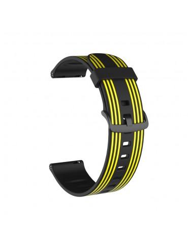 Twill Color Λουράκι σιλικόνης για το Huawei Watch GT/GT 2 (46mm)/ GT 2e /GT Active/Honor Magic/Watch 2 Classic-Black/Yellow