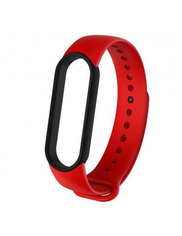 Λουράκι σιλικόνης dual colour για το Xiaomi Mi Band 5- Red/Black