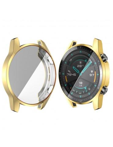 Eύκαμπτη θήκη προστασίας σιλικόνης με ενσωματωμένη προστασία οθόνης για το Huawei Watch GT 2 46mm - Gold