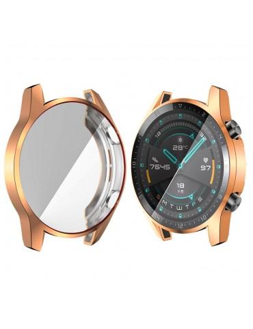 Eύκαμπτη θήκη προστασίας σιλικόνης με ενσωματωμένη προστασία οθόνης για το Huawei Watch GT 2 46mm - Rose Gold